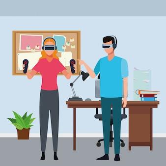 Les gens jouent avec des lunettes de réalité virtuelle