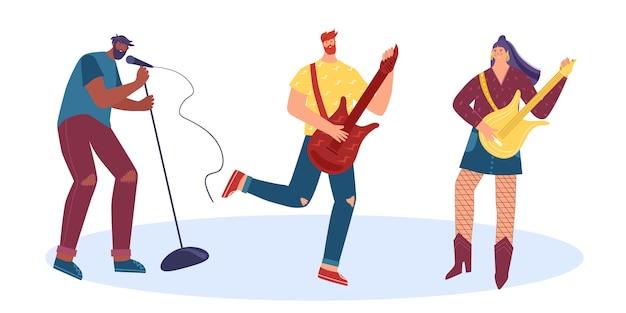 Les gens jouent de la musique rock d'instruments de musique. homme et femme jouant des guitares électriques. un homme avec un microphone chante. illustration.