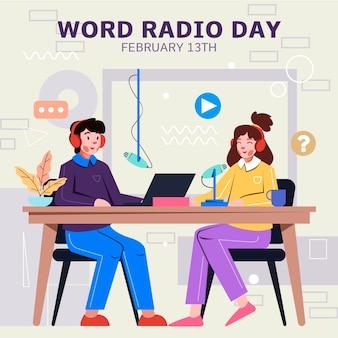 Les gens de la journée mondiale de la radio design plat dans le studio