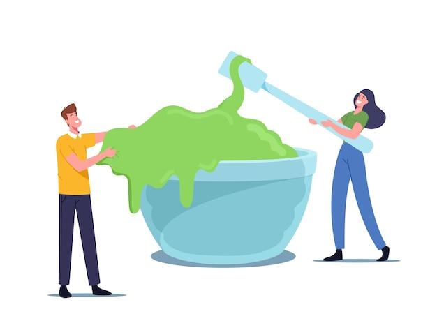 Des gens joyeux faisant de la boue, s'amusant. de minuscules personnages masculins et féminins mélangeant des ingrédients gluants verts dans un énorme bol pour créer un jouet de gomme à main, un concept de loisirs amusant. illustration vectorielle de dessin animé