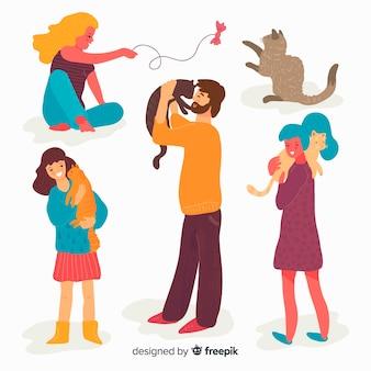 Les gens avec leurs animaux de compagnie