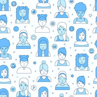 Les gens linéaire plat fait face à motif sans soudure. avatar, userpic et profils sur les réseaux sociaux.