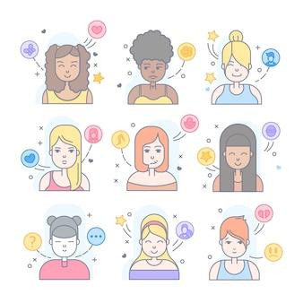 Les gens linéaires plats fait face à jeu d'icônes. avatar, userpic et profils sur les réseaux sociaux.