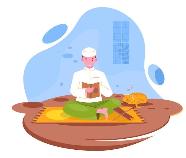 Les gens lisent coran plat illustration