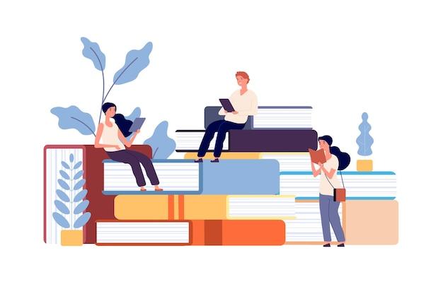 Les gens lisent des livres. hommes femmes étudiant manuel, étudiants apprenant.
