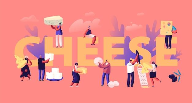 Les gens mangent et cuisinent le concept de fromage. illustration plate de dessin animé