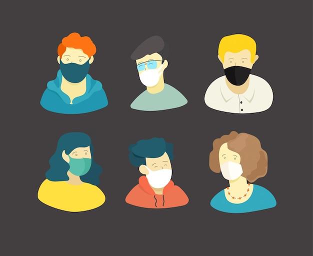 Les gens avec des masques. concept covid-19
