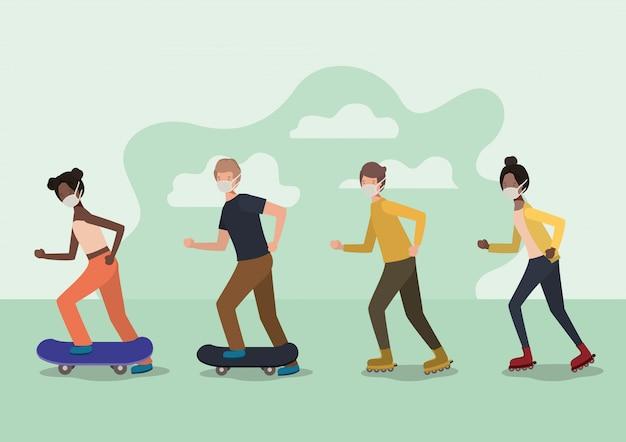 Gens avec des masques sur des planches à roulettes et des patins à roulettes avec des nuages