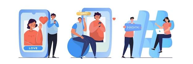 Les gens sur les médias sociaux avec des illustrations telles que l'amour du concept post-viral et hashtag