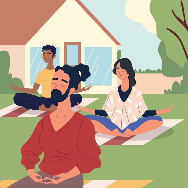 Les gens en méditation en classe