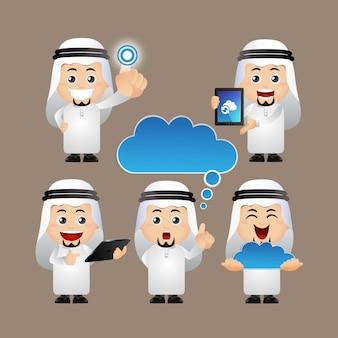Les gens mettent des gens d'affaires arabes