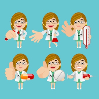 Les gens mettent le médecin de la profession dans des poses différentes