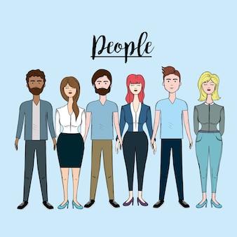 Les gens mignons avec la coiffure et portent différents