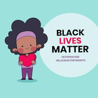 Des gens mignons tenant un coeur avec les mots black lives matter écrits dessus. illustration du mois de l'histoire des noirs