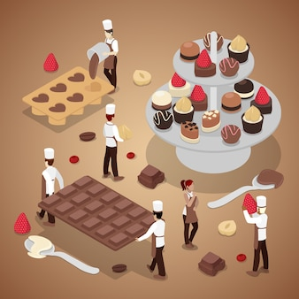 Gens miniatures faisant des bonbons au chocolat
