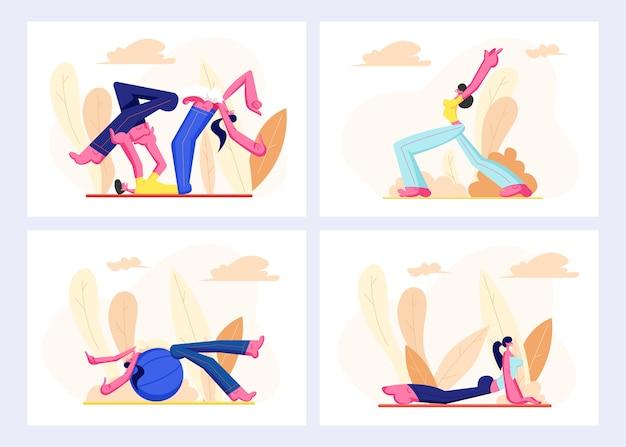 Les gens mis dans des vêtements de sport engagent la remise en forme, l'aérobic à l'extérieur