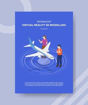 Les gens de modélisation 3d de réalité virtuelle de technologie portent un plan avant en verre vr