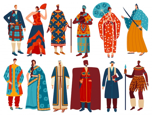 Gens multiculturels en costumes nationaux traditionnels, personnages de dessins animés, illustration