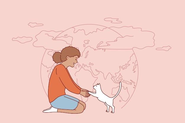 Les gens et la nature sauvent le concept de la terre