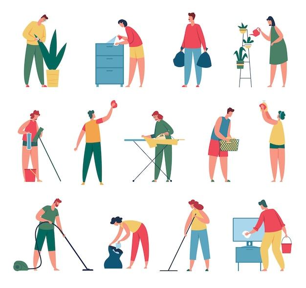 Les gens nettoient les hommes et les femmes faisant le ménage ensemble de concepts