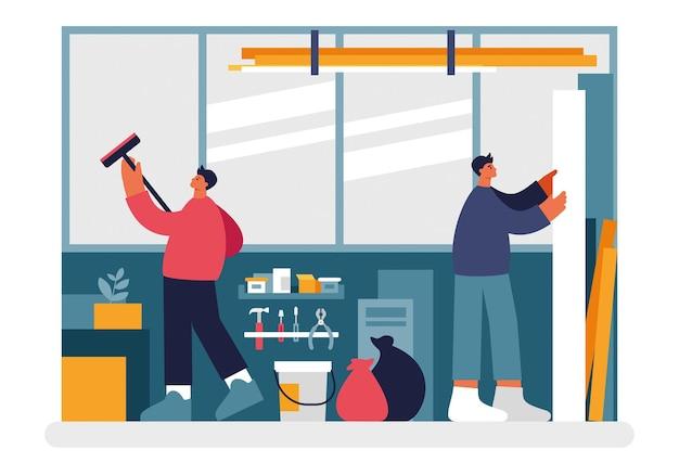 Les gens nettoient l'illustration de l'entrepôt. des personnages masculins essuyant la saleté et la poussière des fenêtres et empilent les matériaux de travail des planches. il y a des sacs à ordures et un seau sur le vecteur de dessin animé de sol.