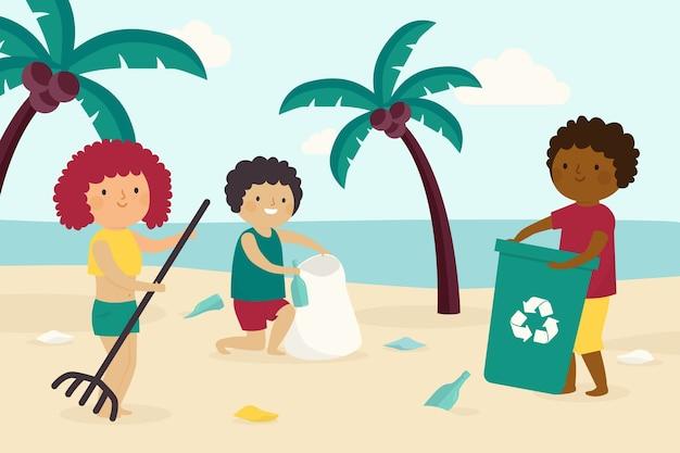 Les gens nettoient la plage ensemble