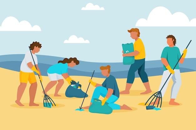 Gens, nettoyage, écologie plage, concept