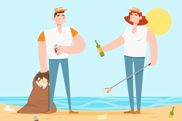 Gens, nettoyage, plage, déchets