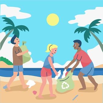 Gens, nettoyage, plage, illustration