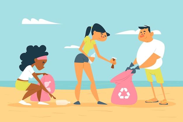 Gens, nettoyage, plage, poubelle