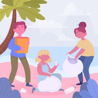 Gens, nettoyage, plage