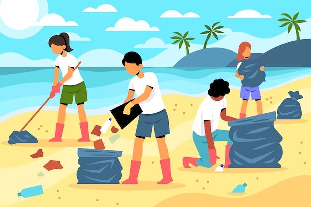 Gens, nettoyage, plages, lumière du jour