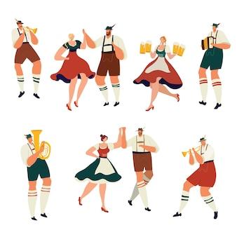 Les gens à l'oktoberfest boivent de la danse avec un musicien
