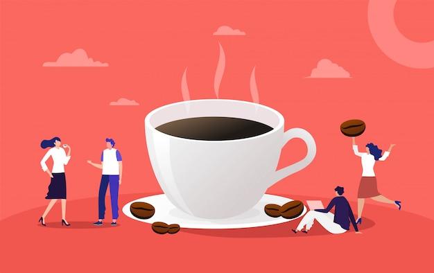 Les gens ont une conversation et boivent une tasse de café, femme et homme boivent un expresso au bureau illustration, page de destination, modèle, interface utilisateur, web, page d'accueil, affiche, bannière