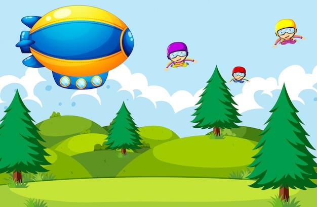 Les gens en parachute dans la nature