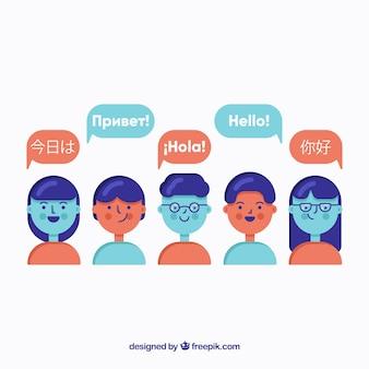 Gens parlant différentes langues avec un design plat