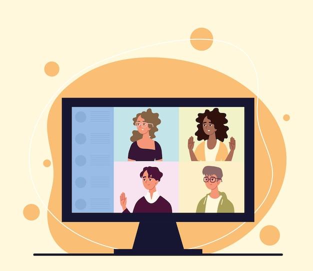 Les gens parlent en appel vidéo