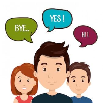 Les gens parlent la communication de parole