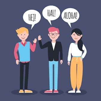 Les gens parlent dans différentes langues