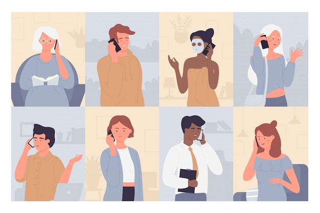 Les gens parlent sur l'ensemble d'illustration de téléphone. personnages de dessin animé homme plat femme parlant avec famille, amis ou partenaire commercial, conversation de téléphone portable ou fond de collection de dialogue mobile
