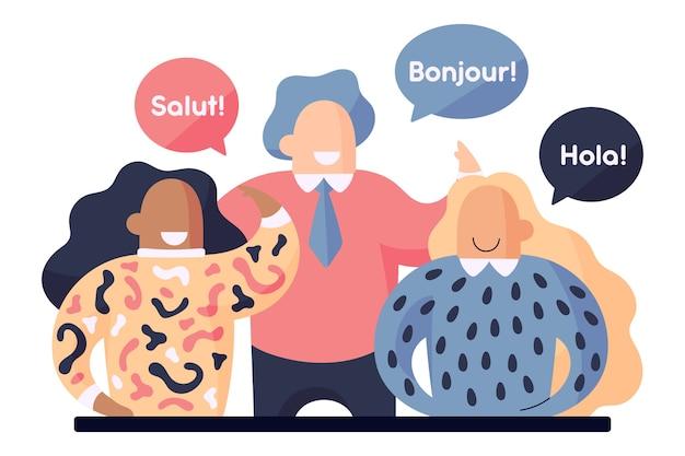 Les gens parlent des langues différentes