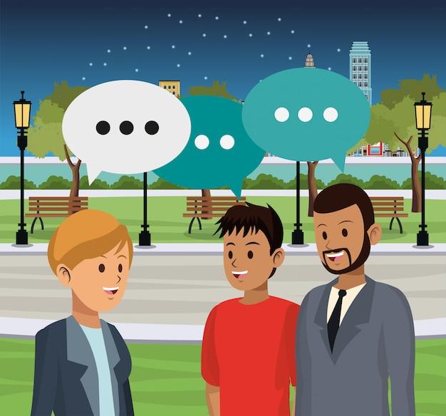 Les gens parlent en ville