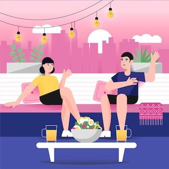 Les gens parler sur le concept de staycation terrasse sur le toit