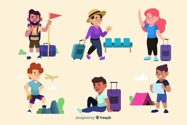 Les gens partant en voyage