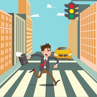 Les gens sur le passage pour piétons. homme d'affaires, dépêchez-vous de travailler. illustration vectorielle