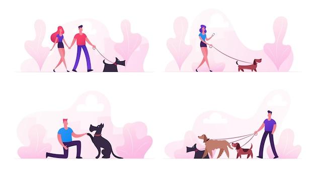 Les gens passent du temps avec les animaux de compagnie à l'extérieur