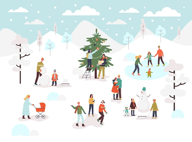Les gens passent du temps dehors en hiver. saison froide, patinez sur la patinoire et faites un bonhomme de neige. illustration