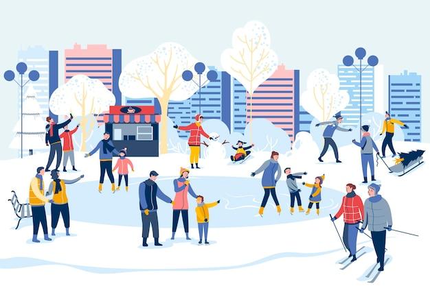 Les gens passent du temps ensemble en hiver