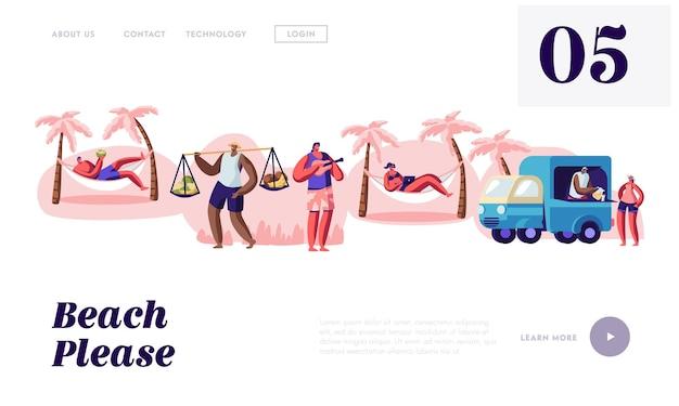 Les gens passent du temps sur la plage de la ville tropicale, modèle de page de destination de site web