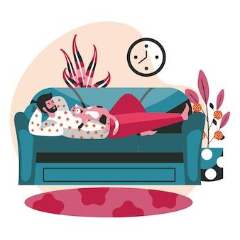 Les gens passent le week-end à la maison concept de scène. l'homme avec le chat se trouve sur le canapé. repos, loisirs et loisirs dans un intérieur domestique confortable, activités humaines. illustration vectorielle de personnages au design plat